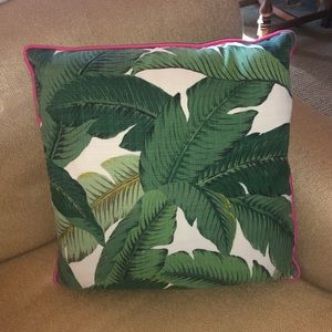 Palm print with hot pink cording pillow